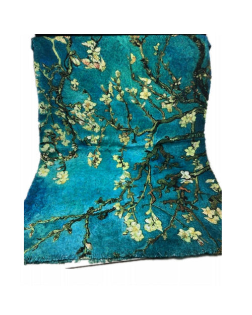 Cotton / Wool  Lightweight Reversible Scarf Green Floral