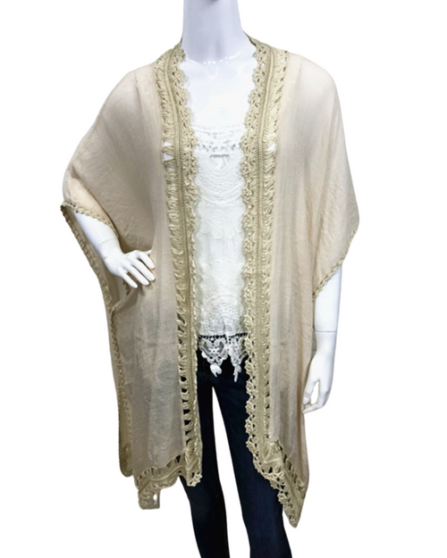 Cotton Cape With Trim - Natural