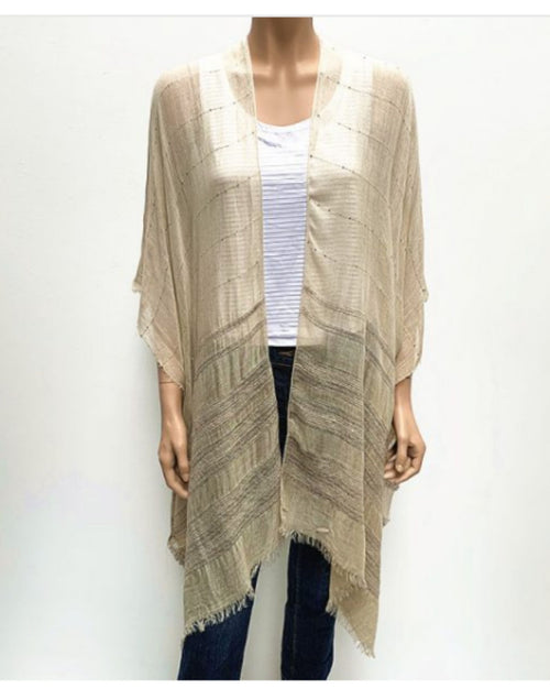 Sequin Detail Cape Cover Up - Beige
