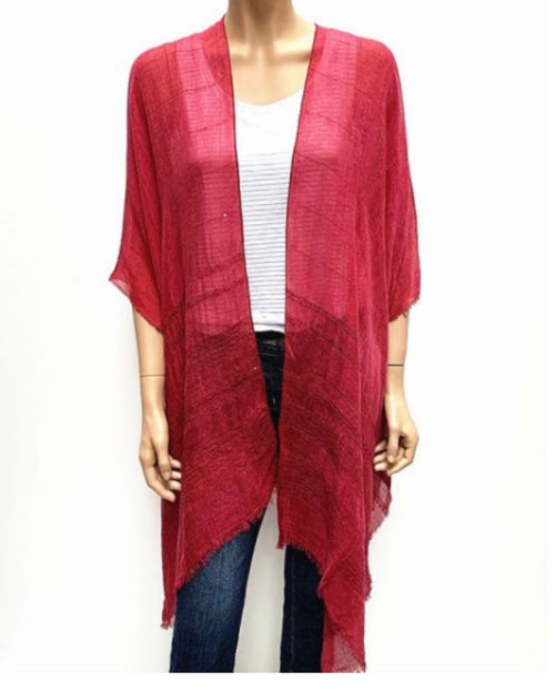 Sequin Detail Cape Cover Up - Burgundy Red