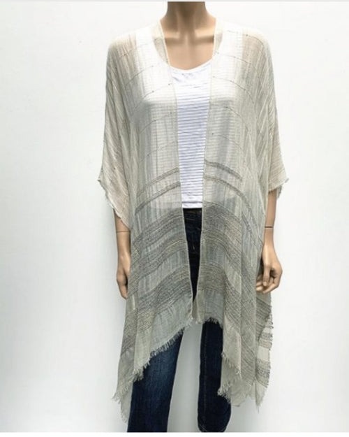 Sequin Detail Cape Cover Up - Grey