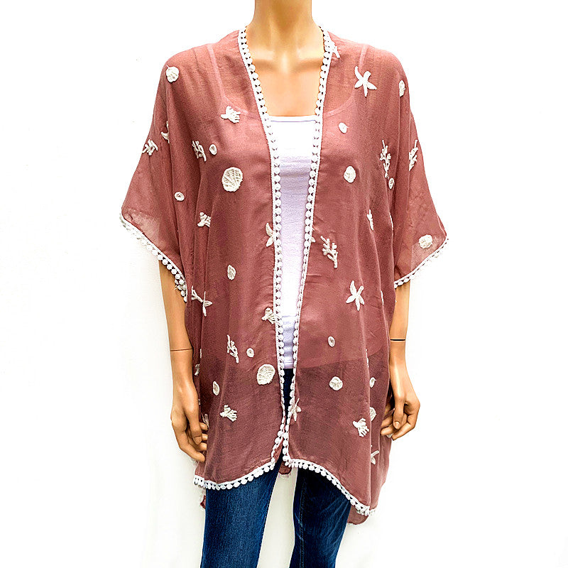 Cotton Embroidery Cover Up - Pink