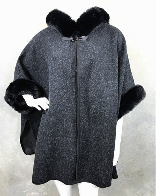 Lux Poncho Coat With Hood - Charcoal