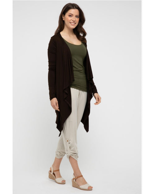 Waterfall Cardigan Chocolate- Size 10-24