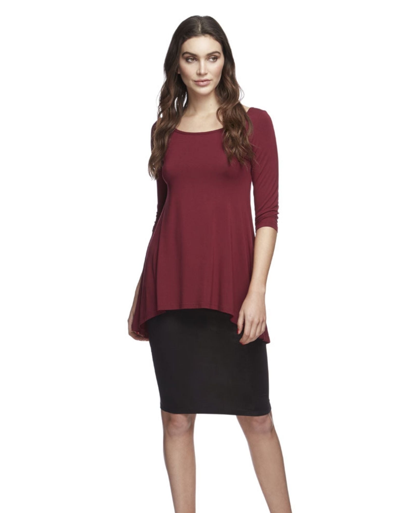 Bamboo High Low Hem Top -Wine- Size 16-22