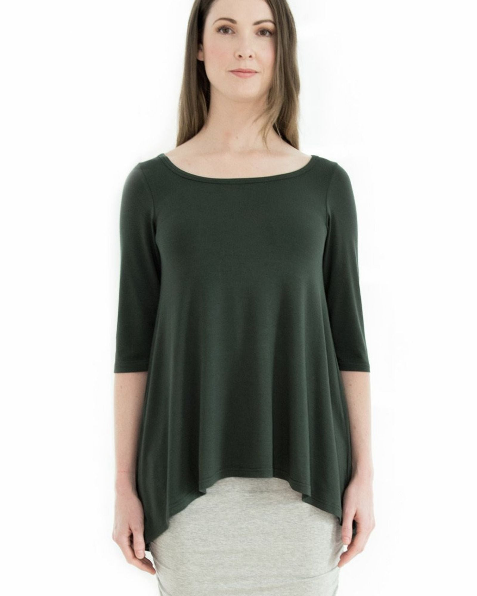 Bamboo High Low Hem Top - Forest Green- Size 12-22