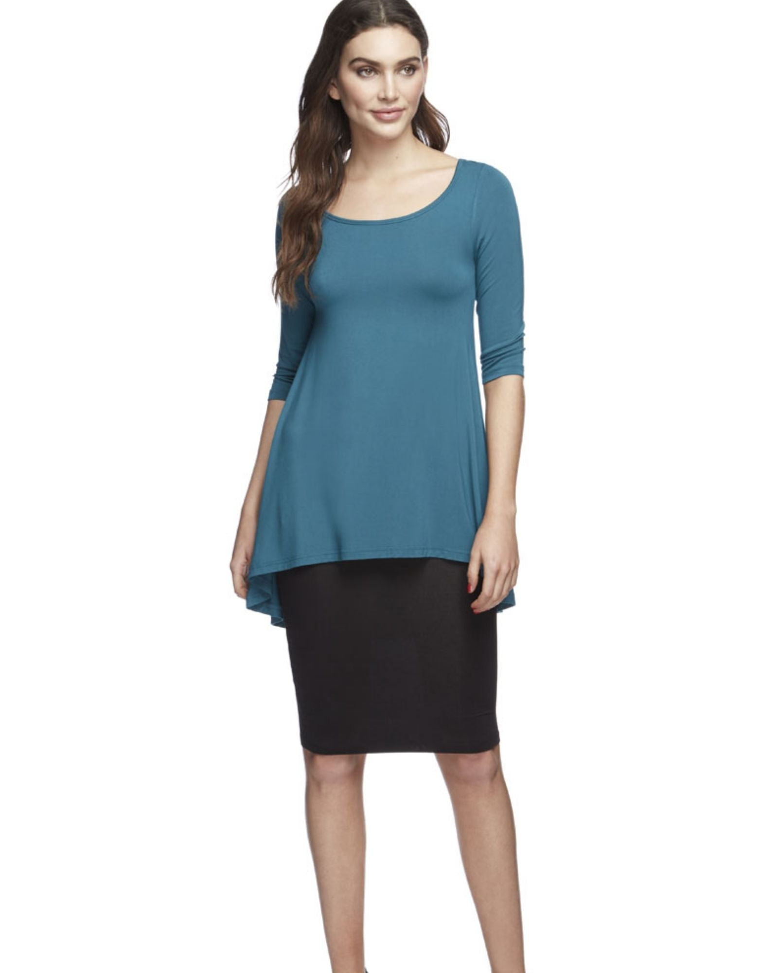 Bamboo High Low Hem Top -Spruce Size 12-22
