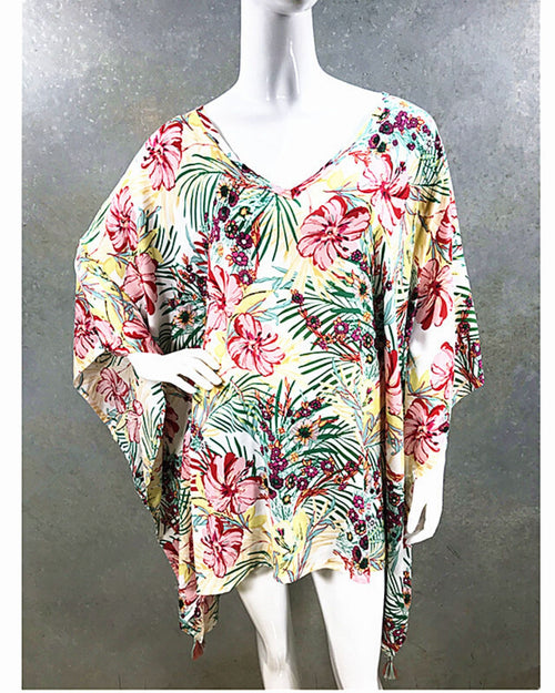 Hibiscus Print V Neck Long Top