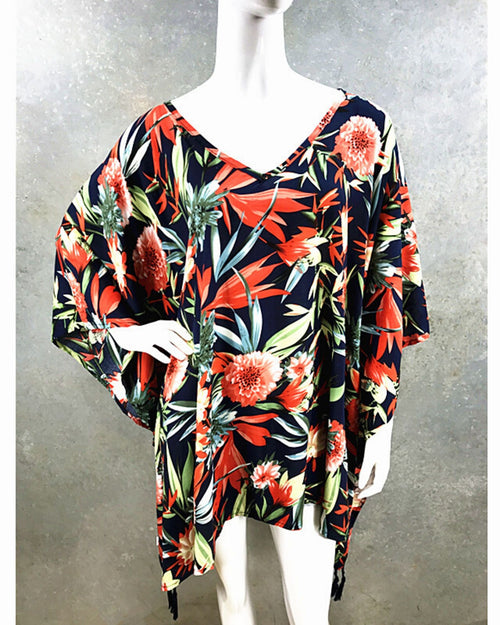 Carnation Print V Neck Long Top
