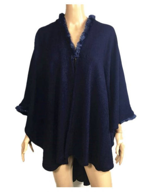 Super Soft Knit Cover Up Fur Trim - Navy