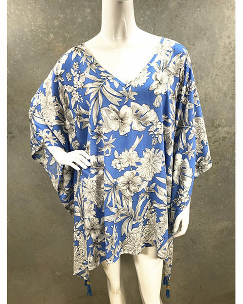 Blue Hibiscus V Neck Long Top