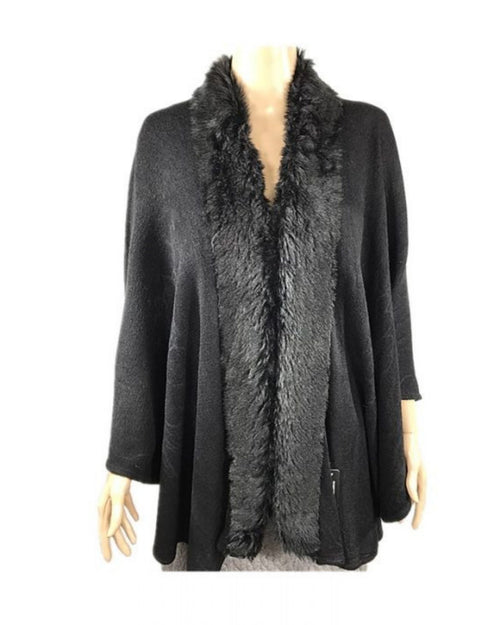 Super Soft Knit Cover Up with Fur Trim - Black Last One