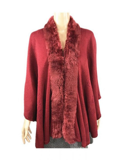 Super Soft Knit Cover Up with Fur Trim -Red