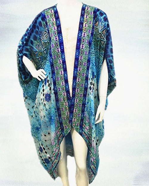 Blue Sparkle Long Kimono - Blue Diamond
