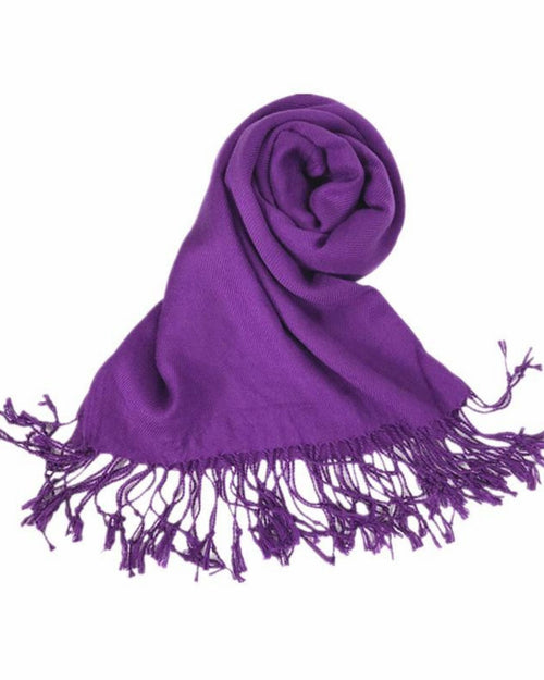 Plain Pashmina Silk Scarf - Purple