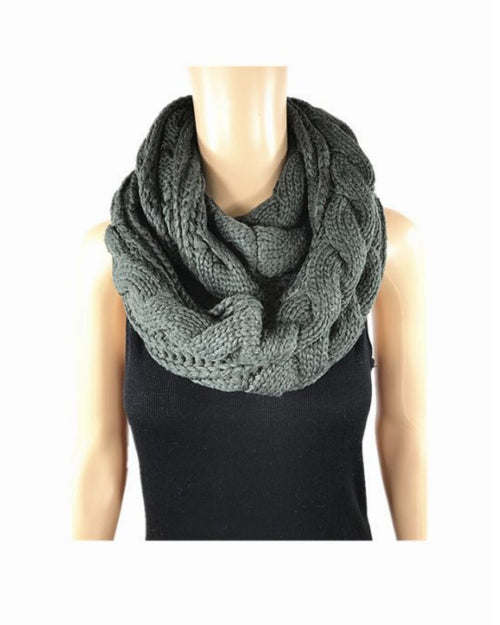 Grey Cable Scarf