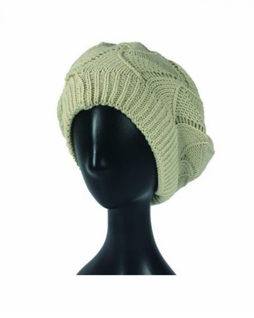 Beige Cable Knit Hat
