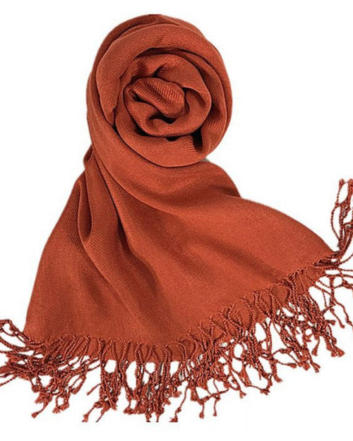 Plain Pashmina Silk Scarf - Coral Orange