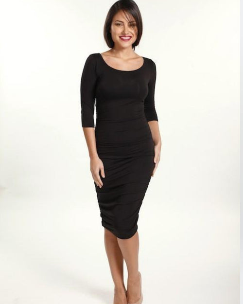 Bamboo 3/4 Sleeve Dress - Black