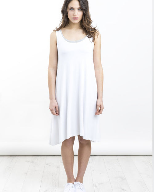 Bamboo Swing Dress - White  - Size 10 -18