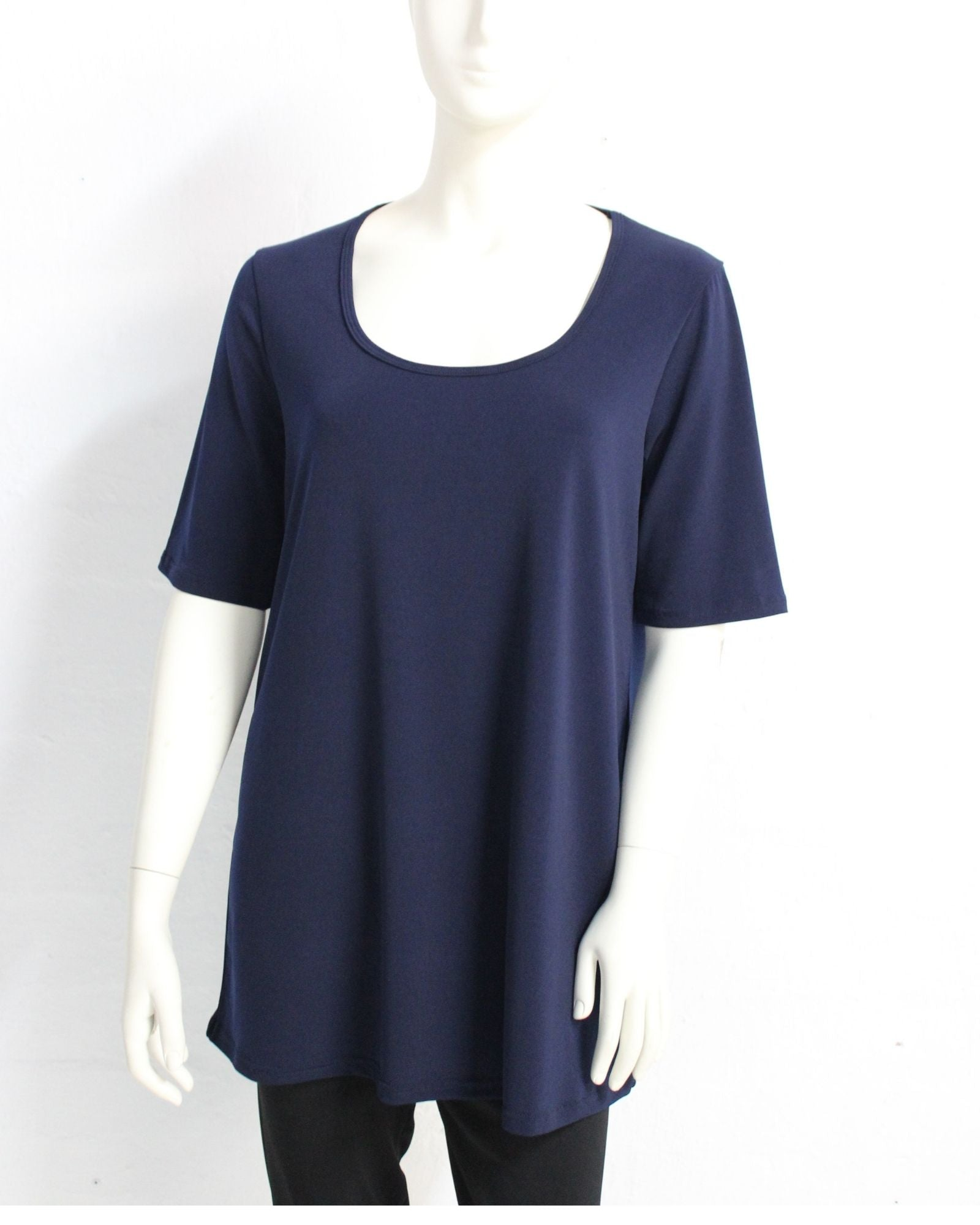 Short Sleeve Soft Knit Top - Navy Size 14