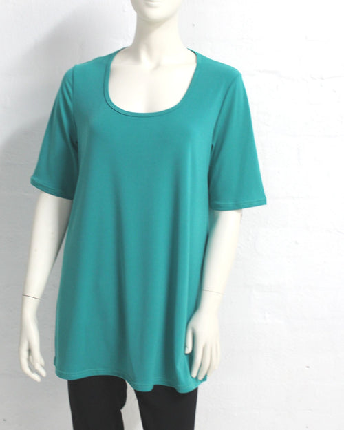 Short Sleeve Soft Knit Top - Jade Size 12-26