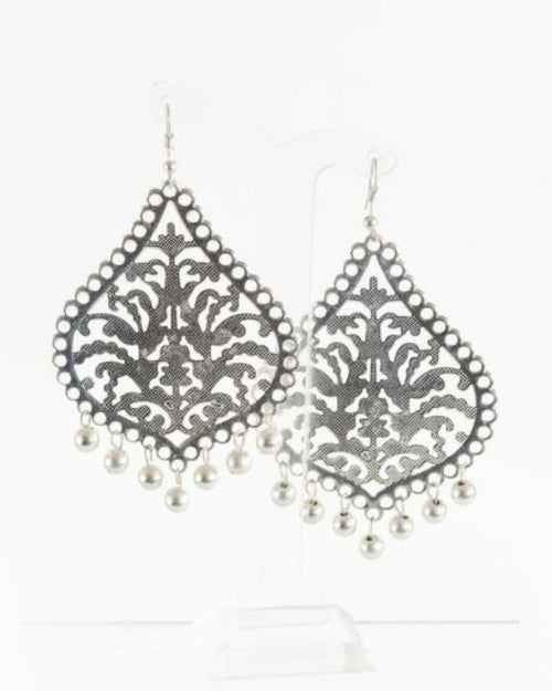 Teardrop Filigree and Ball Hook Earrings