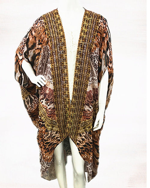 Brown Animal Long Kimono - Brown