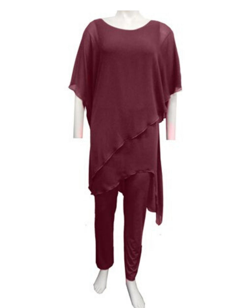 Tilly Chiffon Jumpsuit - Port- Sizes 10-18