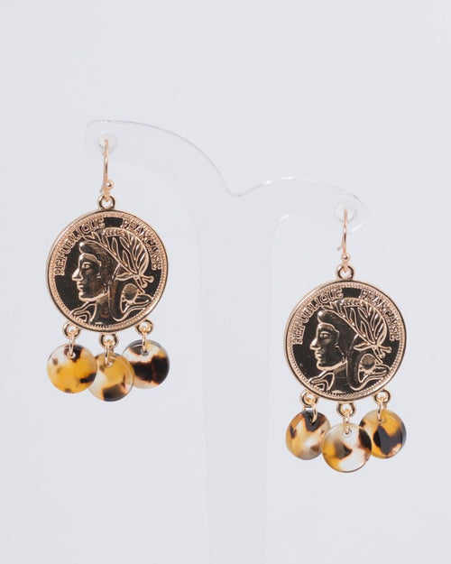 Coin and Tort Charm Hook Earrings
