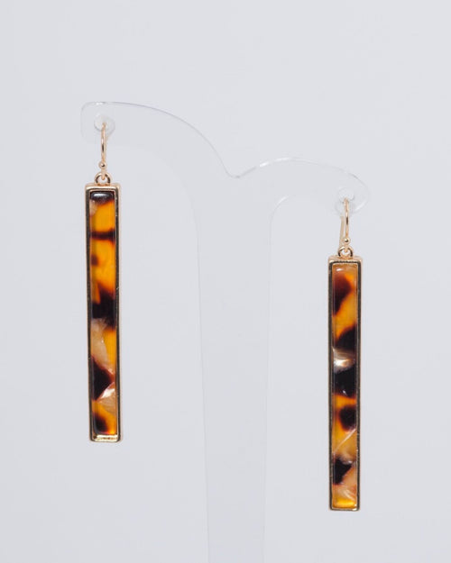 Gold Tort Bar Drop Earrings