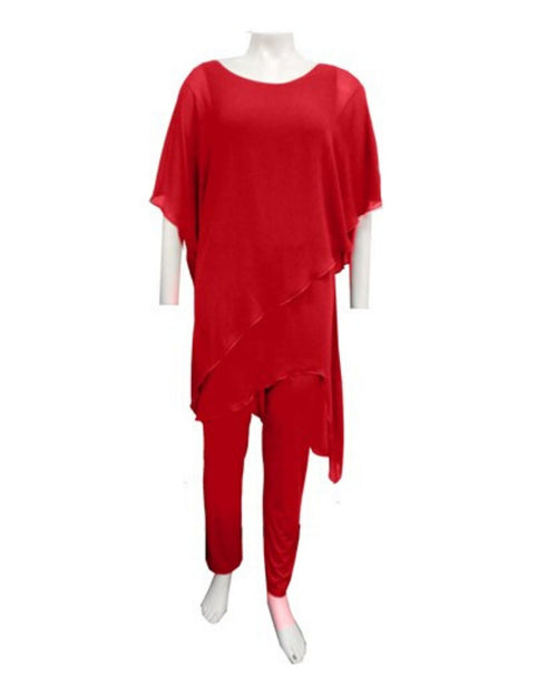 Tilly Chiffon Jumpsuit - Red  - Sizes 10-18