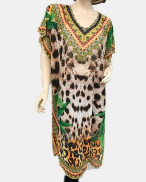 Animal Palm Kaftan Long - Size 14-18