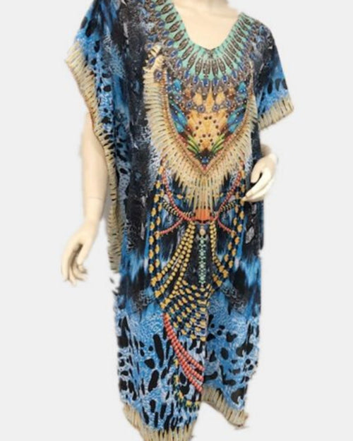 Blue Jewels Kaftan Long - Size 14-18