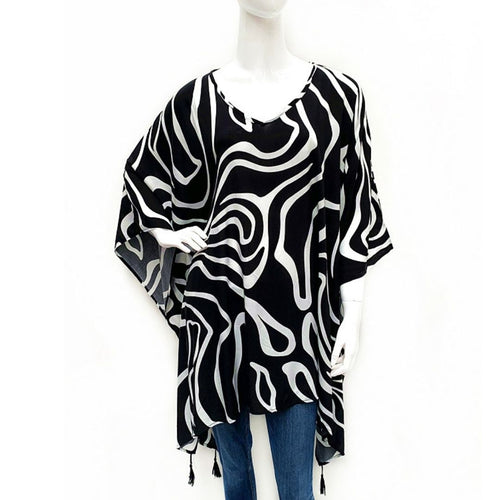 Print Kaftan Top - Black & White