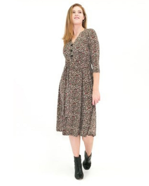 Bree Button Front Dress - Animal Print