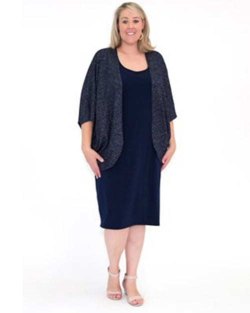 Lurex Knittted Shrug - Navy