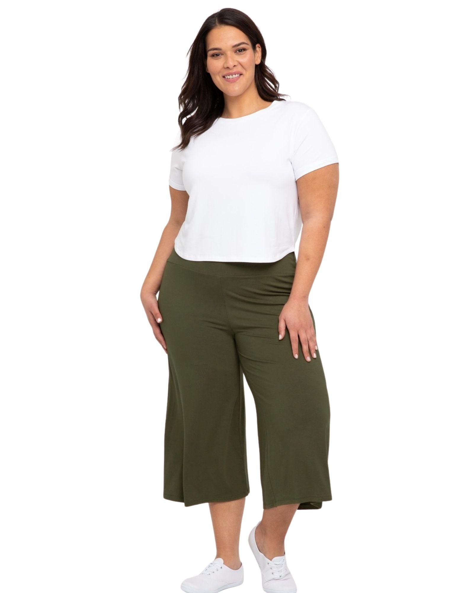 Bamboo Culottes- Olive Size 8-22