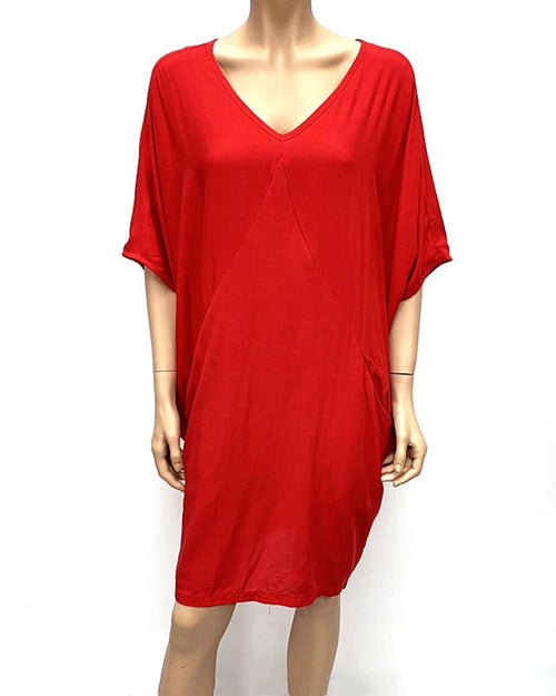 Loose Tunic Dress with Two Pockets -Red.