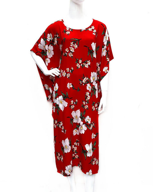 Red Floral Long Kaftan - Side Tassles