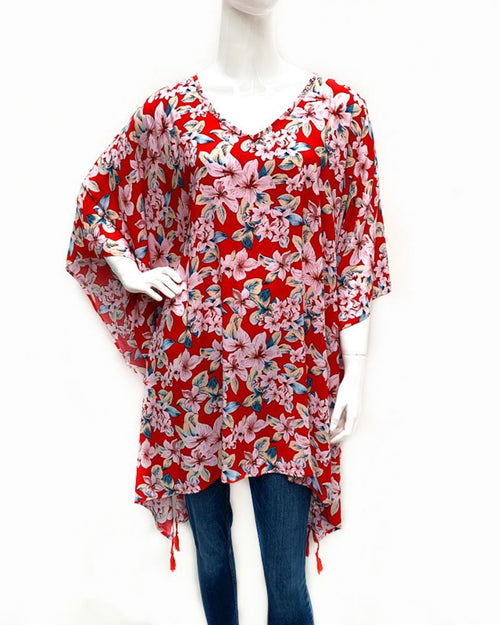 Red Floral Print V Neck Long Top