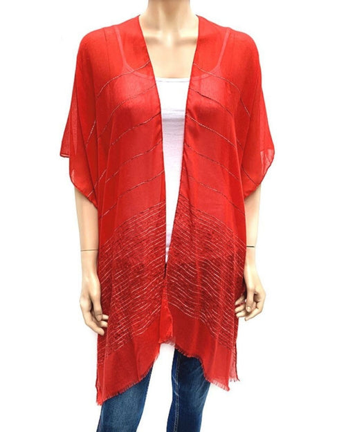 Horizontal Sequin Cape/ Cover Up - Red