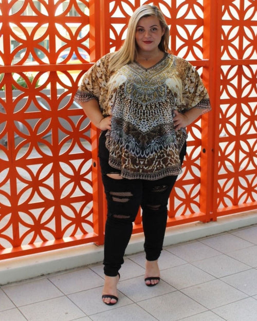 Beaded Kaftan Top - Brown Animal