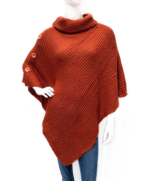 Pullover Poncho with Button Detail -Red
