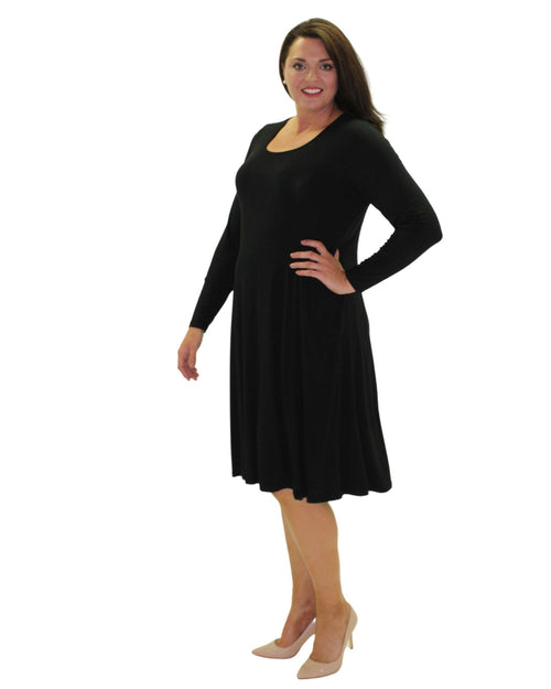 Teesa Long Sleeve Knit Tunic Dress - Black-  Size 12 -26