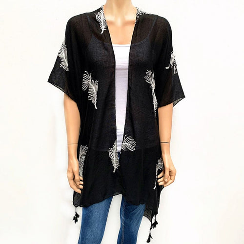 Feather Embroided Cape -Black