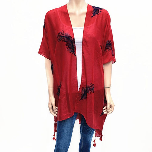 Feather Embroided Cape - Red