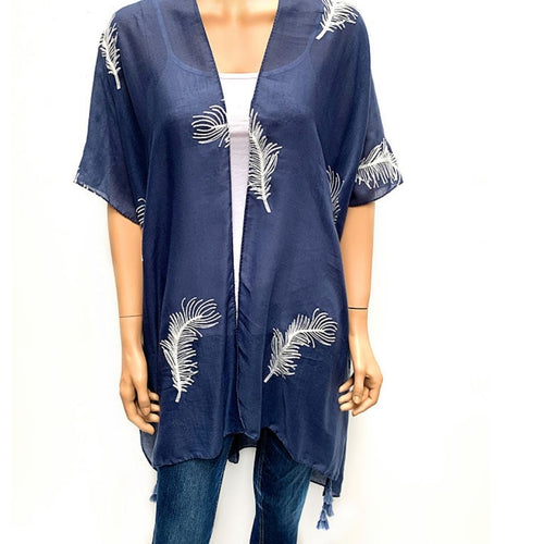 Feather Embroided Cape -Blue