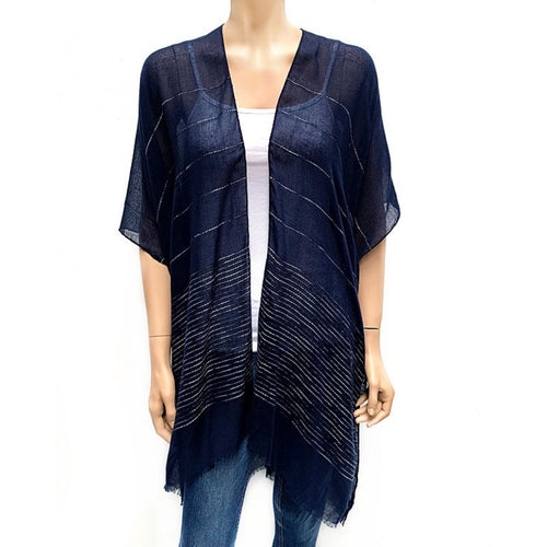 Horizontal Sequin Cape/ Cover Up - Navy