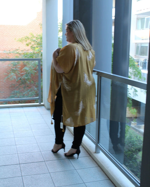 Feather Embroided Cape -Yellow